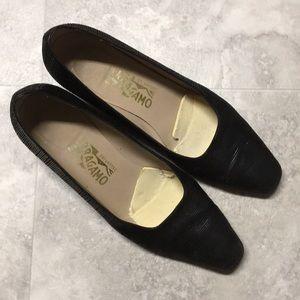SALVATORE FERRAGAMO • Suede Leather Heel